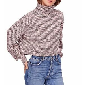 Free people crop turtleneck mock knit